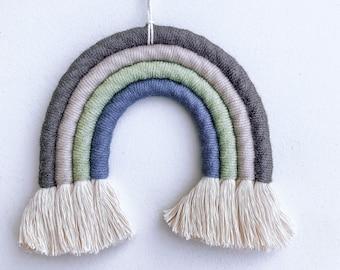 Rainbow Wall Hanging - Charcoal, Gray, Sage, Blue