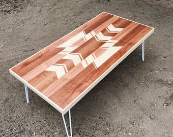 Navajo Style Coffee Table w/ Hairpin Legs