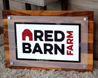 """Custom Reception Desk Business Entrance Wall Commercial Welcome Sign 18"""" x 26"""" shown in Sapwood Finish"""