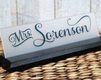 Teacher Desk NamePlate: Professional Wood Sign Personalized Gift 10 x 2.5 inch base