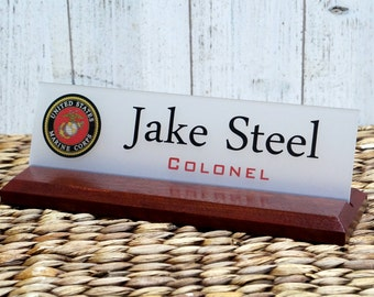 Military Name Plate, Desk Nameplate - Air Force, Navy, Army, Coast Guard Sign makes a great Gift 10 X 2.5