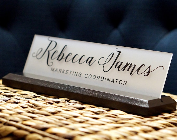 Office Gift Personalized Desk Wedge Sign 10 x 2.5 inches