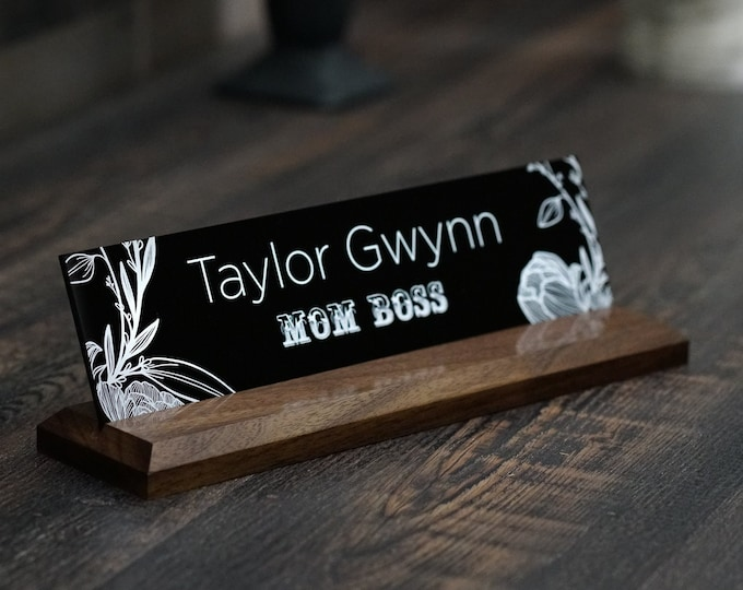 Graduation Gift New Job Gift Wood Desk Nameplate 10 x 2.5 inches
