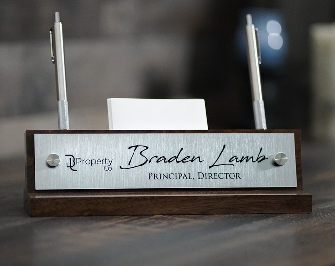 Stainless Steel Desk Name Plate with Card and Pen Holder / Office Sign / Fathers Day Gift / Christmas Gift / 10 x 2.5 inches