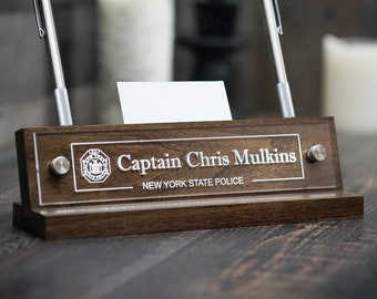 Wood Desk Name Plate with Pen Holder / Card Holder / Captain Police Fireman / Fathers Day Gift / Christmas Gift / 10 x 2.5 inches