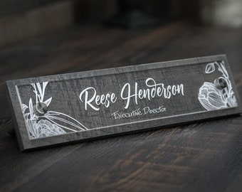 Desk Name Plate Rustic Espresso or Reclaimed Grey, Custom Office Name Sign,  Personalized with your name and title 2.5 x 10 inches