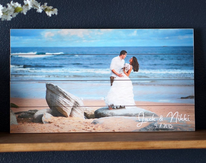 Wood Pallet Sign Photo Print, Beach Picture Custom Printed in Full Color on 10 x 18 size