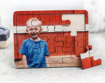 Personalized Wood Jigsaw Photo Puzzle, Baby Birthday Gift, Nursery Decor, Montessori Toys, Baby Shower Gift, Christmas Gift for Toddlers