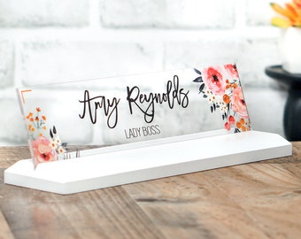 Desk Accessories CoWorker Gift Wood Desk Name Plate size 10 x 2.5 inches