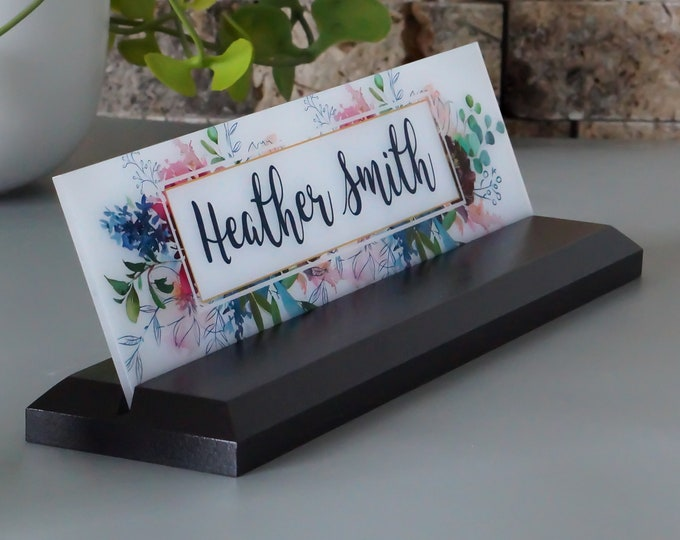 Desk Name Plate, Modern Office Decor, Graduation Gift for Her, Name Badge, Name Tag, Nameplate, Name Sign, Desk Name Sign