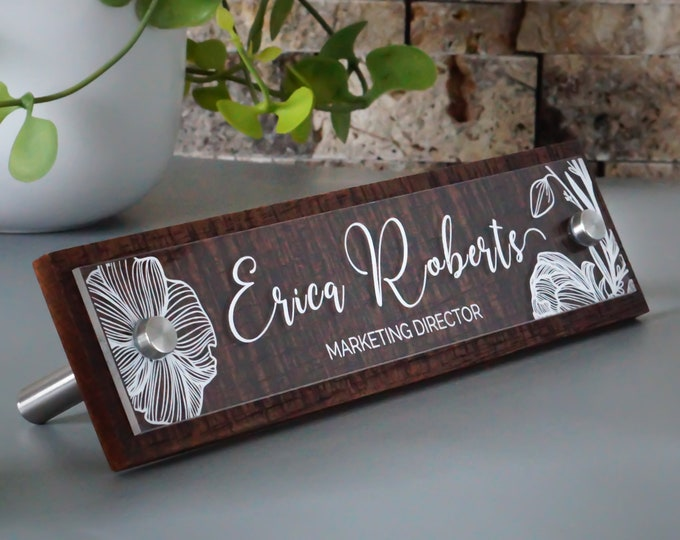 Rustic Desk Name Plate / Espresso or Reclaimed Grey / Custom Office Name Sign /  Personalized with your name and title 2.5 x 10 inches
