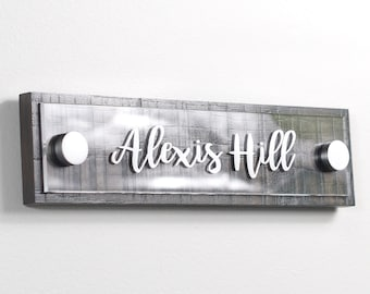 Door or Wall Sign Plaque / Door Name Plate / Wall Sign Name Plate / Modern and Rustic Flush Mount by Garo Signs 10 x 2.5 Inches