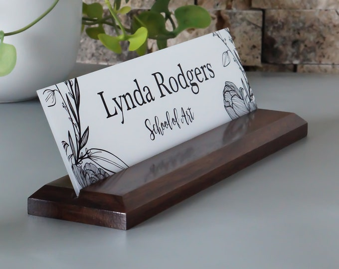 Graduation Gift New Job Gift Wood Desk Nameplate 10 x 2.5 inches