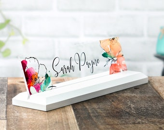 Desk Name Plate Office Supply Personalized Secretary Sign Gift Custom Professional Wood Office Sign 10 x 2.5