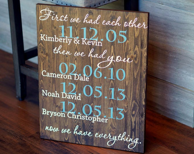 Featured listing image: FIRST We Had Each Other - Custom Quote Sign - Important Dates Sign - Poster Size Hand Painted Wood 15 x 18