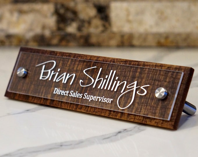 Desk Name Plate Rustic, Custom Office Name Sign,  Personalized with your name and title 2.5 x 10 inches