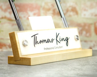 CoWorker Gift Desk Sign and Name Plate Personalized Wood Mothers Day Birthday Office Gift 10 x 2.5
