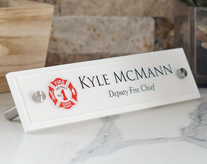 Fire Department Desk Name Plate 10 x 2.5 inches Wood, Acrylic and Brushed Aluminum