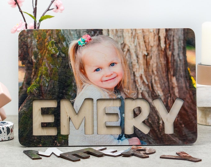 Wooden Name Photo Puzzle, Baby Birthday Gift, Nursery Decor, Montessori Toys, Baby Shower Gift, Christmas Gift for Toddlers