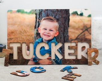 Wooden Name Puzzle with Photo, Personalized Baby Birthday Gift, Nursery Decor, Montessori Toys, Baby Shower Gift, Gift for Toddlers