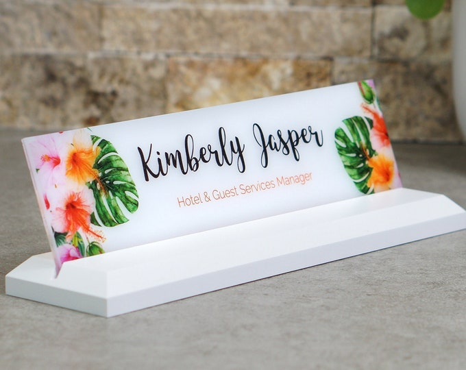 Desk Name Plate / Hawaiian Floral / 10 x 2.5 inches