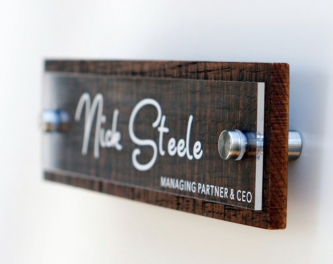 Rustic Door Name Plate or Wall Name Plate Personalized with your name and title 2.5 x 10 inches