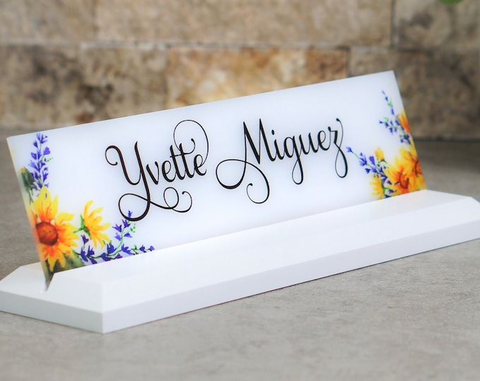 Desk Nameplate / Sunflower Design / Office Desk Accessories / CoWorker Gift / Desk Name Plate / size 10 x 2.5 inches
