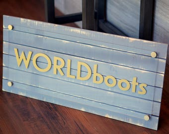 Customizable Rustic Business Sign with your name and logo 10 x 22 inches