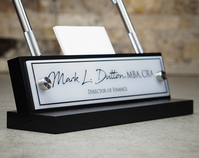 Desk Name Plate with Card and Pen Holder / Office Sign / Fathers Day Gift / Christmas Gift / 10 x 2.5 inches