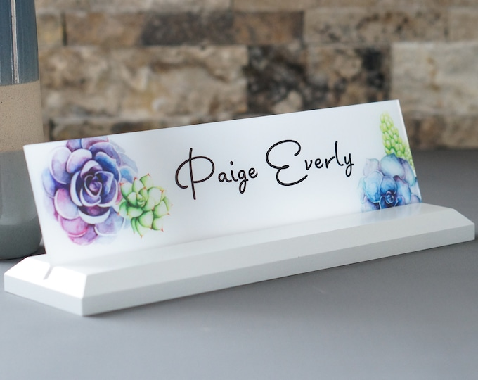 Personalized Desk Name Plate / Succulent Flower Design / Wooden Desk Sign 10 x 2.5 inches