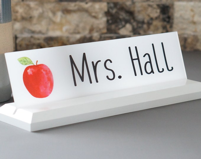 Acrylic Teacher Desk Name Plate with Wood Plaque Personalized Professional Wood Sign Gift 10 x 2.5