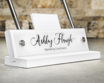Desk Accessories / Desk Name Plate with Pen and Card Holder / For Him or Her/ Promotion Gift 10 x 2.5 inches