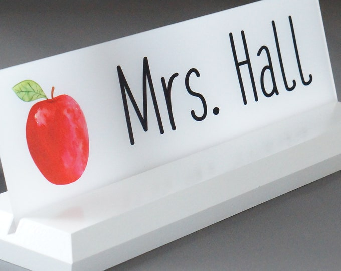 Teacher Classroom Desk Name Plate with LOGO Personalized Wood Desk Sign Makes a Great TEACHER's Gift 10 X 2.5