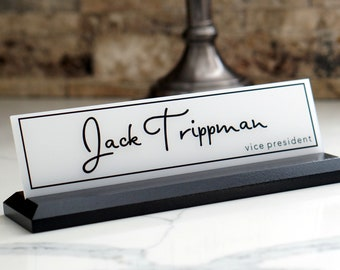 Office Accessories / Gift for Him/ Coworker, Graduation, Promotion Gift / Wood and Acrylic Desk Name Plate 10 x 2.5