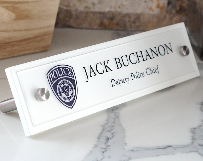 Police Department Desk Name Plate 10 x 2.5 inches Wood, Acrylic and Brushed Aluminum