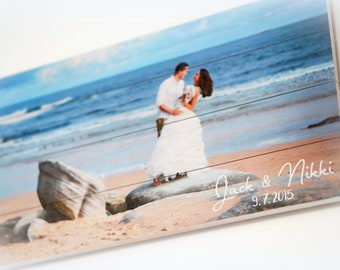 Your Picture Printed on Wood Pallet , Beach Photo Custom Printed in Full Color on 10 x 18 Pallet Sign