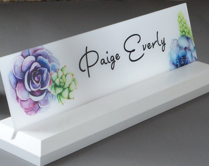 Featured listing image: Personalized Desk Name Plate Wooden Sign 10 x 2.5 inches
