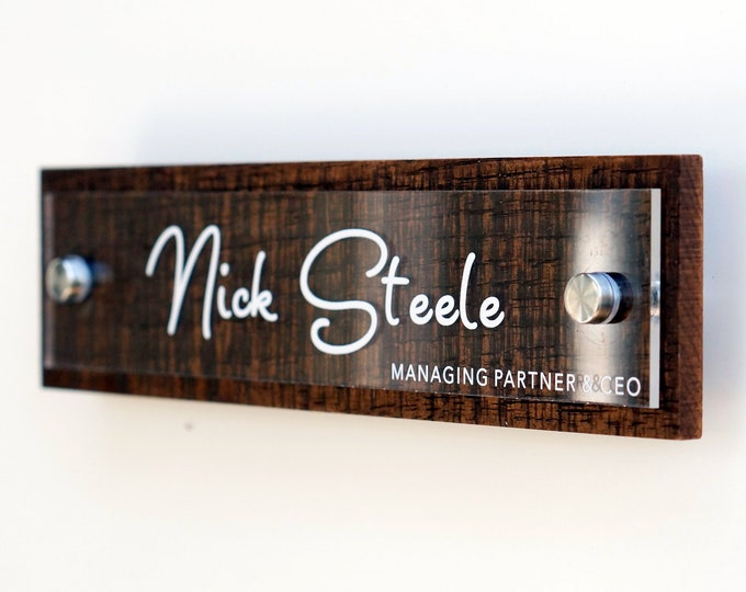 Rustic Nameplate for your Wall or Door personalized with your name and title 2.5 x 10 inches