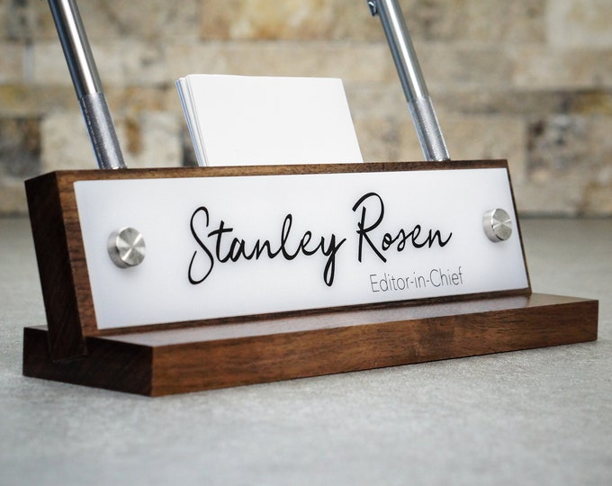 Office Accessories / Rustic Desk Name Plate with Pen and Card Holder / For Him or Her/ Christmas Gift 10 x 2.5 inches