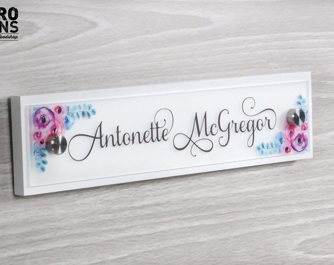 Personalized Door Name Plate Sign Decor - 10 x 2.5 inches - Office Accessories - Flush Mount Wall Name Sign