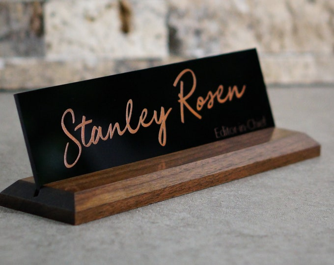 Bronze Anniversary Gift for Him/ Desk Name Plate / CoWorker Gift / Personalized & Professional 10 x 2.5 inches