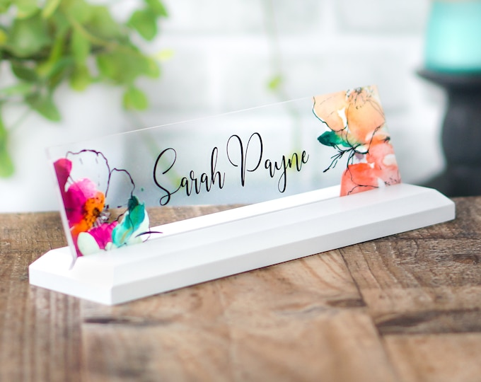 Desk Name Plate, Modern Office Decor, Graduation Gift for Her, Name Badge, Name Tag, Nameplate, Name Sign, Desk Name Sign