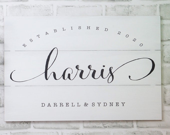Personalized Family Name Sign. Your family name printed on a REAL WOOD Pallet. Great Wedding Gifts, Bridal Shower or Anniversary Gifts 7x22