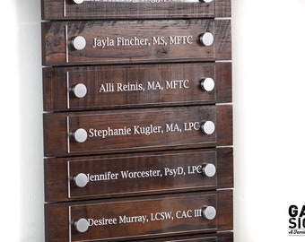 Directory Sign / Business Pallet Registry Sign / Custom Pallet Wood Sign / Shown as Espresso 12 x 24 inches