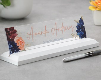 Clear Acrylic Desk Name Plate, Modern Office Decor, Graduation Gift for Her, Name Badge, Name Tag, Nameplate, Name Sign, Desk Name Sign