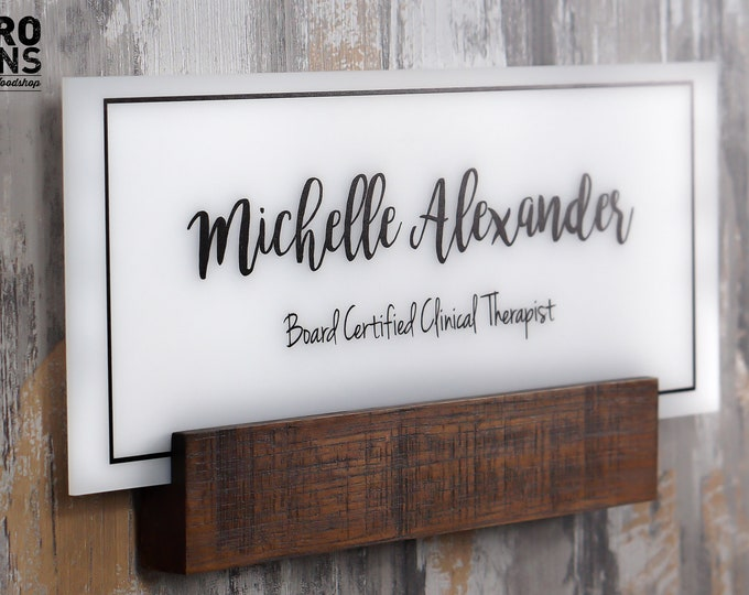Personalized Wall Door Name plate with Business Logo / Office Signs / made of real wood 5 x 12 inches (shown in espresso finish)