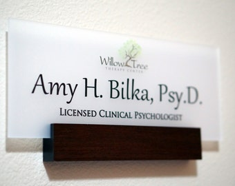 Personalized Wall Door Name plate with Business Logo made of real wood 5 x 12 inches (shown in espresso finish)