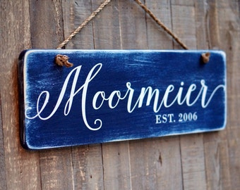 RUSTIC DISTRESSED Family Established Sign