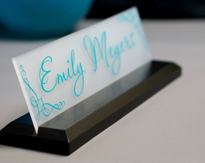 Featured listing image: Desk Name Plate Office Supply Personalized Secretary Sign Gift Custom Professional Wood Office Sign 10 x 2.5