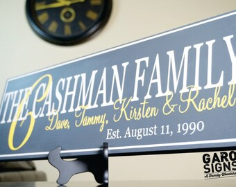 Personalized Family Name Sign. Last Name Wood Sign with Established Date. Great Wedding Gifts, Bridal Shower or Anniversary Gifts 7x22